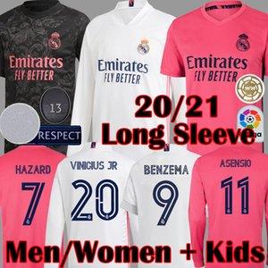 2020 2021 Neue Real Madrid Long Sleeve GEFAHR Fußballjerseys MODRIC SERGIO RAMOS ASENSIO Marcelo Valverde Frauen-Fußballhemd für Kinder Kits