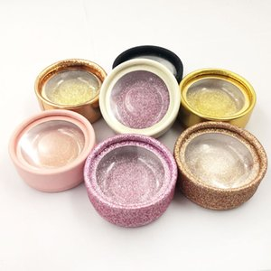 Wholesale Round Empty Eyelashes packaging Box Case Cosmetics False Eyelash Packaging Box Container Glitter 3D Lashes Case