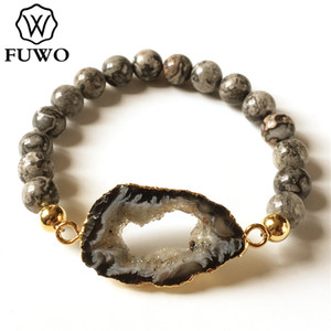 FUWO naturel Geode Bracelet or Entretenu 8 mm Perles ronde Geode Tranche cristal Druzy bijoux vintage Bracelet pour les femmes BR253