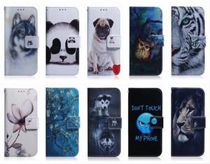 Кожаный бумажник чехол для Samsung Note 20 Ультра LG K61 K51 K41 аминального цветок Лев Panda Собака Волк Tiger ID Card Slot откидной крышка держатель сумка