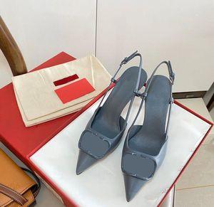 2020 새로운 뾰족한 발가락 스틸 샌들 여성 중공 금속 V-버클 바오 터우 가죽 굽 높은 신발, 6cm 8cm