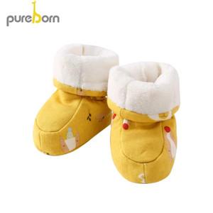 pureborn Yenidoğan Bebek Kız Ayakkabı Karikatür Pamuk Bebek Boys İlk Yürüyenler Patik Yumuşak Kış Terlik Isınma Çizgili polar