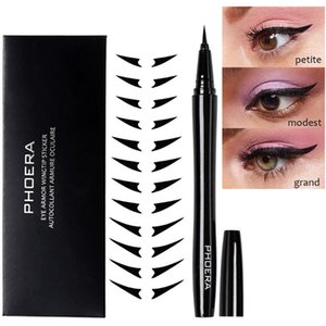 Phoera Waterproof Liquid Eyeliner Makeup Smudge-proof Eye Liner Pen Eyeliner Stickers Kit Make Up Tools 10ml Delineador Cosmetic
