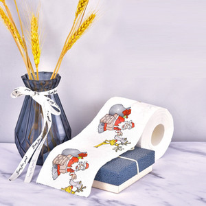 Creative personalized printing roll paper color Santa Claus + reindeer pattern toilet paper cartoon Xmas toilet paper T9I00554