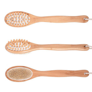 Dual Head Bath Shower Brushes Natural Boar Bristles Back Brush with Long Bamboo Handle SPA Brush Body Massager OWC2419