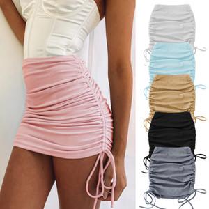 2020 Frühling und Herbst Womens gestrickte Gewinde Side Kordelzug Elastische Faltenrock Sexy Slim Einstellbare Hüftrock