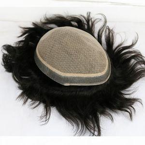 Silk Basis Toupet Menschliches Haar Seiden-Top-Spitze mit Haut Poly Männer Toupee Spitze Männer Perücke Ersatzsystem
