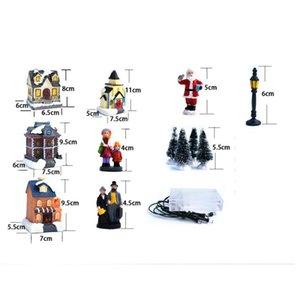 Articoli da regalo di Natale LED resina Glow Casa giocattoli di Natale della decorazione della casa di Babbo Natale dell'albero di Natale per bambini dell'ornamento di natale CYZ2751 trasporto marittimo