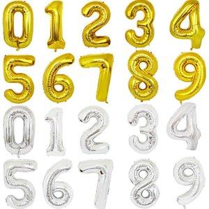풍선 골드 실버 편지 디지털 Globos 생일 파티 장식 아기 목욕 용품 HWE1577 호일 32 인치 편지 번호 풍선