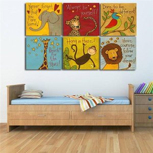 Free Shipping Canvas Painting Print Painting 6 Pieces Set Modern Cartoon Animals Wall Pictures Kids Room Wall Decor No Frame