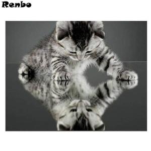 Картины котенка живопись алмазным круглым 5D набор крестом DIY мозаика горный хрусталь вышивка ремесло украшения дома