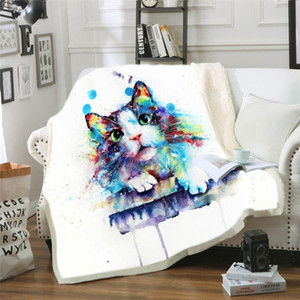 Custom 3D Cat Sherpa Blanket on Beds Animal Fur Throw Blanket for Adults Brown Gray Bedding Mantas Para Cama 150cmx200cm