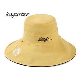 2020 barato chapéu Fisherman verão feminino guarda-sol dupla face respirável frescos chapéus japonês net bacia vermelha kaguster verão