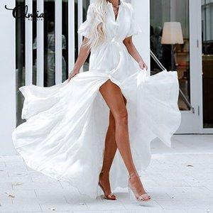 Celmia Bohemian White Ruffled Dress Women Short Sleeve Button Casual Split Sexy Maxi Long Vestidos Swing Party Dress Plus Size
