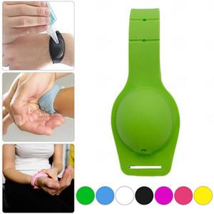 Pulsera mano Desinfectante portátil desinfectante de la mano Desinfectante embalaje Sub-IIA613 favor usable de silicona pulsera de la pulsera titular del partido del gel