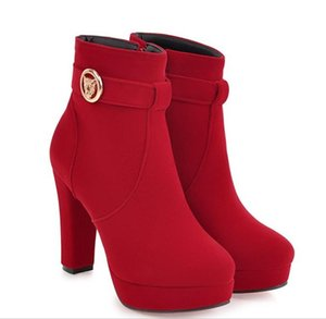 size 32 to 43 with box sexy platform ankle boots red blue suede thick heel platform designer boots 01