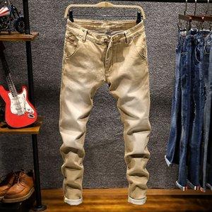 Мужские джинсы мужские тощие растягивающиеся колорит мода Slim Fit Chaki синий зеленый цвет хлопчатобумажный ковбой грудит вскользь