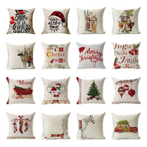 new 40style Christmas pillowcase car animal sofa cushion cover Santa Claus pillow case Christmas decoration plaid Pillowcase T2I51533