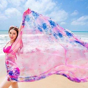 Новая мода Wild Summer печати Шелковый шарф Крупногабаритные шифон шарф женщин парео Пляж Cover Up Wrap саронг Солнцезащитный Long Cape