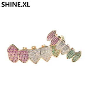 ICED OUT Full Zircon Teeth Grillz Gold Plated Top and Bottom Vampire Teeth Caps Mens Bling Body Jewelry