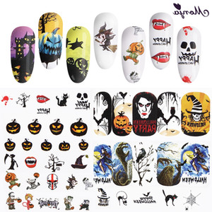 Nail Art Stickers For Halloween Christmas Designs Nail Water Transfer Stickers Nail Tips Decals DIY Decorations Set