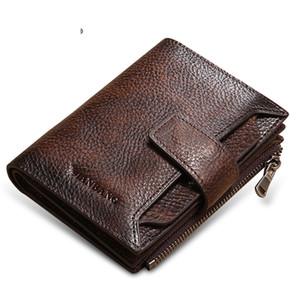 100% echtes Leder-Mann-Mappen-Münzen-Geldbeutel-Kartenhalter Kleine Männer Mappen-Taschen Short Wallet