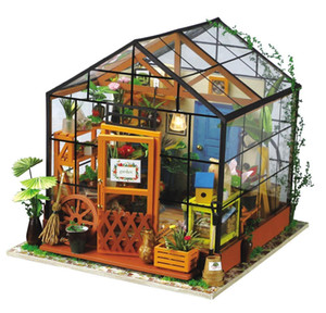 Robotime Miniature Dollhouse DIY Dollhouse with doll house furniture, Light Gift for Children Adults Kathy's Flower House LJ200911