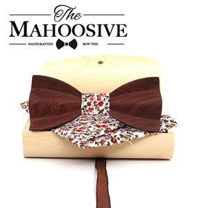 남성 여성 품질 클래식 나무 나비 넥타이 3D 손수건 나비 나무 나비 넥타이 Gravata 설정에 대한 Mahoosive 로즈 우드 나무 나비 넥타이