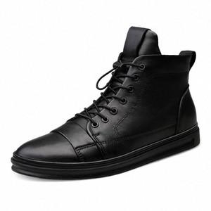 Youki homme Bottes d'hiver en peluche laine fourrure Homme Botte en cuir véritable Chaussures Hommes Big Taille sZD1 #