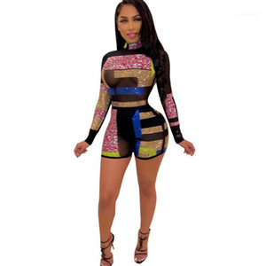 Women Designer Clothing Summer Sexy Club Ladies Rompers Hot Drill See Through Jumpsuits Geometric Print Stand Neck