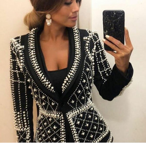 Evening dress Yousef aljasmi Kendal Jenner Women dress Kim kardashian V-Neck Women Coat suit set Black White Pearls V-Neck Long sleeve