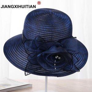 jiangxihuitian 2020 nuova Perle Sun-ombreggiatura pizzo cappello femminile Summer Flowers Cappello per il sole anti-uv Beach pieghevole larga