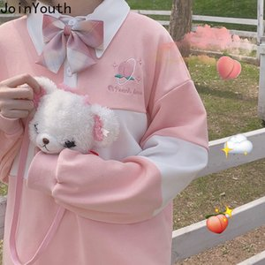 Joinyouth التطريز هوديس الكورية المتضخم المرقعة البلوز المرأة الحلو فضفاض البلوز 2020 أزياء الشارع الشهير Sweashirts