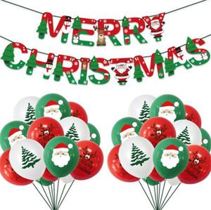 Decorazioni di Natale Babbo Natale Balloon Imposta gonfiabile lattice Balloons Set di Buon Natale di carta Banner Xmas Tree Balloon ornamenti LY924
