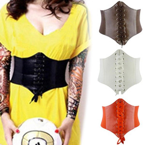 SANWOOD 60cm - 80cm Women's ultra Plus Faux Leather corset Belt Slim Body Shaper Front Tie up Waist belt