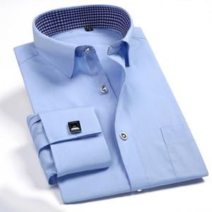 French Cuff Button Men Dress Shirt Classic Long Sleeve Brand Formal Business Tuxedo Shirts with Cufflinks Wedding Clothing 200925