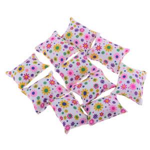 10pcs Dollhouse Miniature Floral almofadas travesseiros Sofá Quarto para 1/6 boneca Acessório