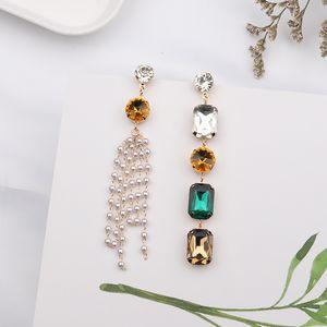 MENGJIQIAO 2020 accessori Donne New Piazza cristallo variopinto asimmetrica Pendientes Per la perla simulata nappa lunga orecchini
