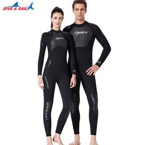 Dalış Suit Erkekler Kadınlar Gençlik 3mm Neopren Dalgıç Dalış Şnorkel S Tüm Vücut Uzun Kollu Islak Suits Geri Fermuar tek parça mayo Isınma