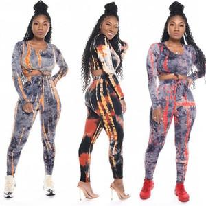 Tie Dye Kadınlar Eşofman Kazak Kısa 2PCS Suits Moda Baskılı İnce Kadınlar İki Adet Dropshipping ayarlar Yüksek Bel Pantolon Tops