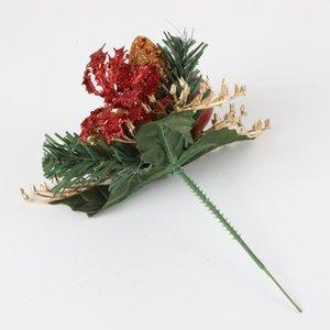 Falso Flores artificiais ornamento Hastes Arranjos Pine Christmas Gift Box Cone Flower Wreath Home Decor Inverno 5uh0