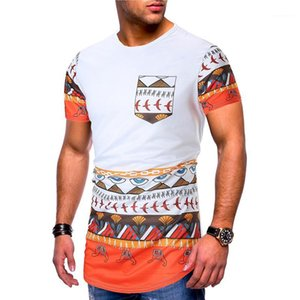 T-shirts Moda Irregular Hem Painéis Mens Tees Designer machos roupa Mulit Imprimir Mens Designer de manga curta