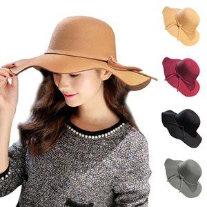 Automne Hiver Bow-noeud Fedora Hat pour les femmes laine couleur unie pour femmes Chapeau Pork Pie large Brim Canotier Flat Top Hat