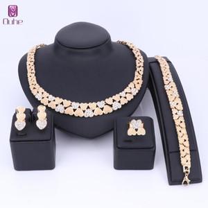 OUHE Goldfarben-Kristallhalsketten-Ohrring-Armband-Ring-Herz-geformte Sets für Frauen Hochzeit Schmuck Braut Charm