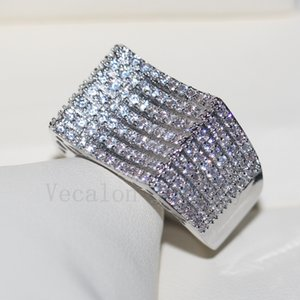 Vecalon all'ingrosso gioielleria di lusso pavimenta set 168pcs Cz diamante Argento 925 fidanzamento nuziale anello banda per le donne regalo