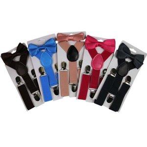 Enfants ceinture Bowtie Ensemble Stéild Color Enfants Bretelles avec nœud papillon Girls ajustables Clip garçons sur Y Back Back Braks Accessoires HWC2427
