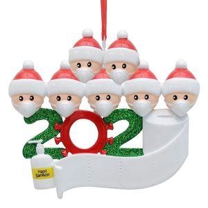 2020 день Новогоднего украшение персонализированного Survivor семья Смола Украшение Маска Рука дезинфицирующее Рождественская елка кулон 2 3 4 5 6 7people