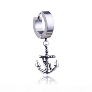 Fashion Punk Titanium Steel Allergy Free Anchor Earring Studs for Men Chic Stainless Steel Silver Earrings Wholesale