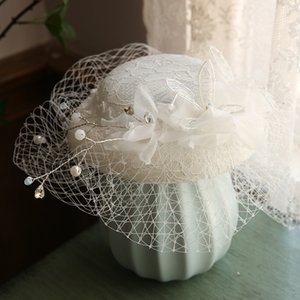 Wedding Bridal Hats And Fascinators Headpiece Party Hat Corsage Elegant Tulle With Flower And Imitation Pearls White Veil