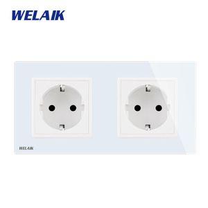 WELAIK 2Frame Europeia-Standard Power-soquete Tempering-Glass-Panel UE Wall-soquete de parede saída 16A AC110 ~ 250V A28E8EW